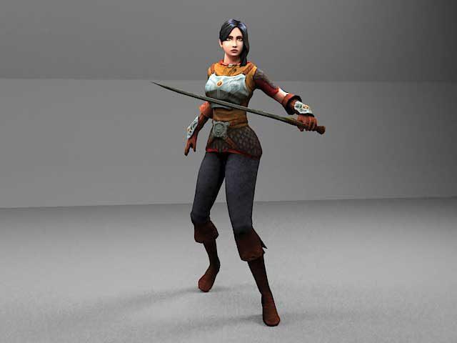 دانلود مدل سه بعدی دختر جنگجو