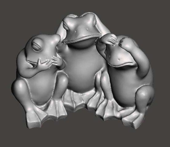 دانلود مدل سه بعدی سه قورباغه خردمند