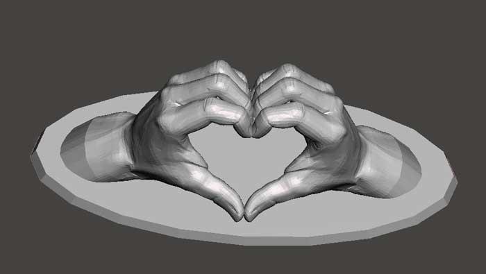 دانلود مدل سه بعدی شکل قلب با دست
