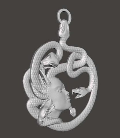 دانلود مدل سه بعدی گردنبند مدوزا یونانی