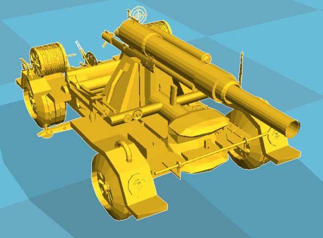 دانلود مدل سه بعدی گاری با تفنگ
