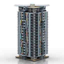 مدل سه بعدی آماده ساختمان برج مسکونی