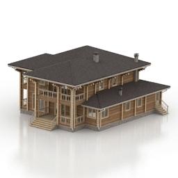 مدل سه بعدی آماده ویلای چوبی