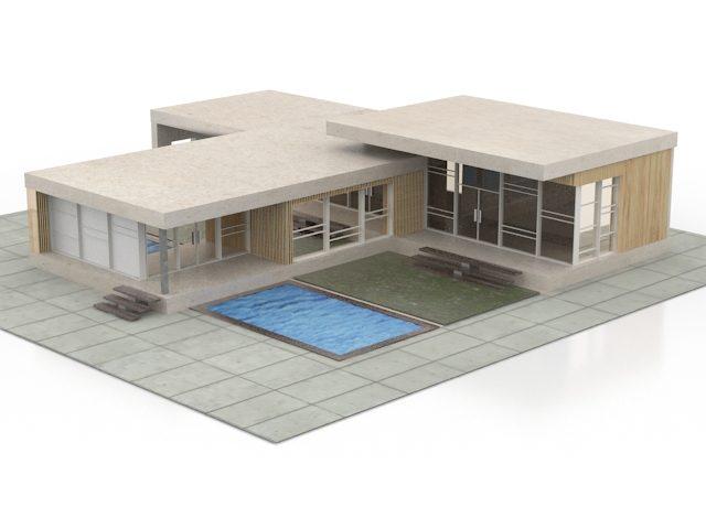 مدل سه بعدی خانه ویلای مدرن