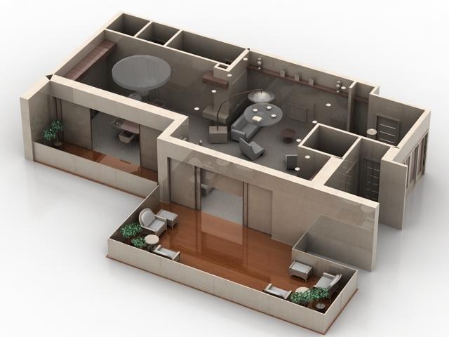 دانلوذ مدل سه بعدی آماده فضای داخلی منزل مسکونی